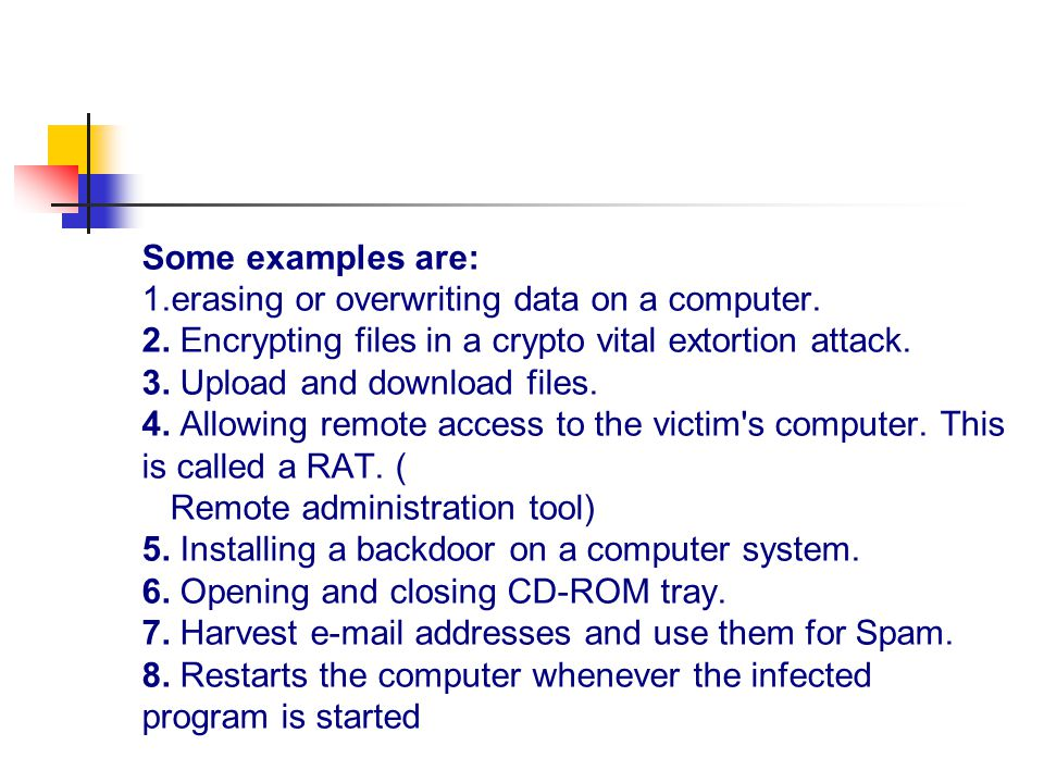 Some examples are: 1.erasing or overwriting data on a computer.