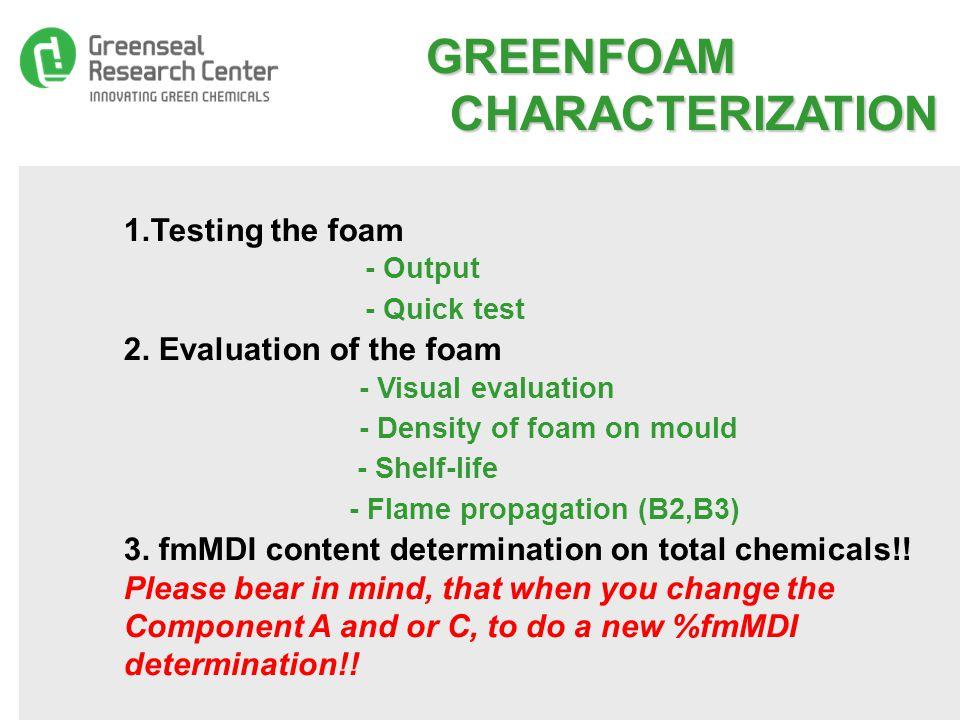 GREENFOAM CHARACTERIZATION GREENFOAM CHARACTERIZATION 1.
