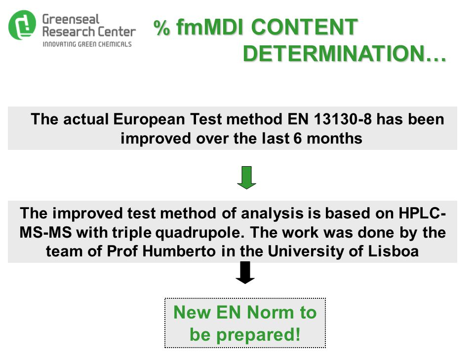 % fmMDI CONTENT DETERMINATION… % fmMDI CONTENT DETERMINATION… The actual European Test method EN 13130-8 has been improved over the last 6 months The improved test method of analysis is based on HPLC- MS-MS with triple quadrupole.