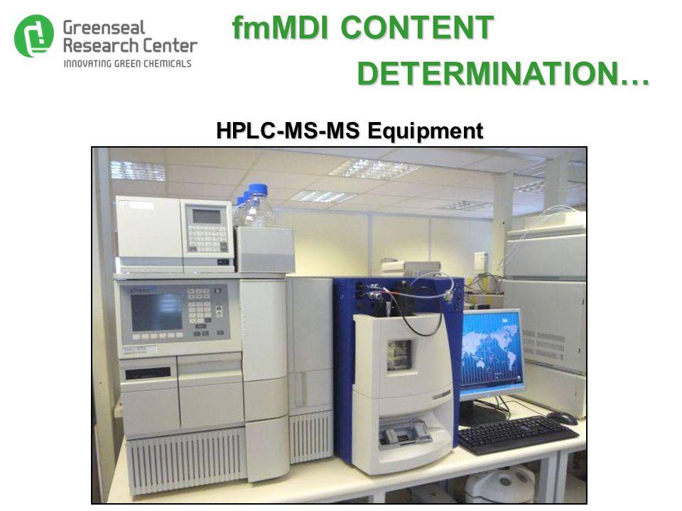 fmMDI CONTENT fmMDI CONTENT DETERMINATION… DETERMINATION… HPLC-MS-MS Equipment