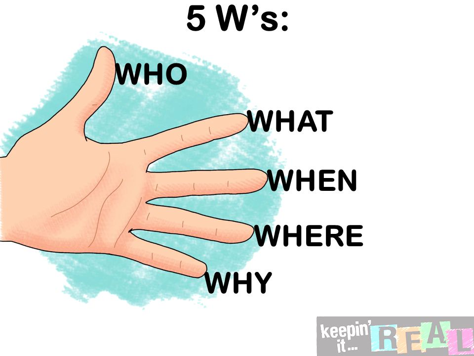 5 W's: WHO WHAT WHEN WHERE WHY
