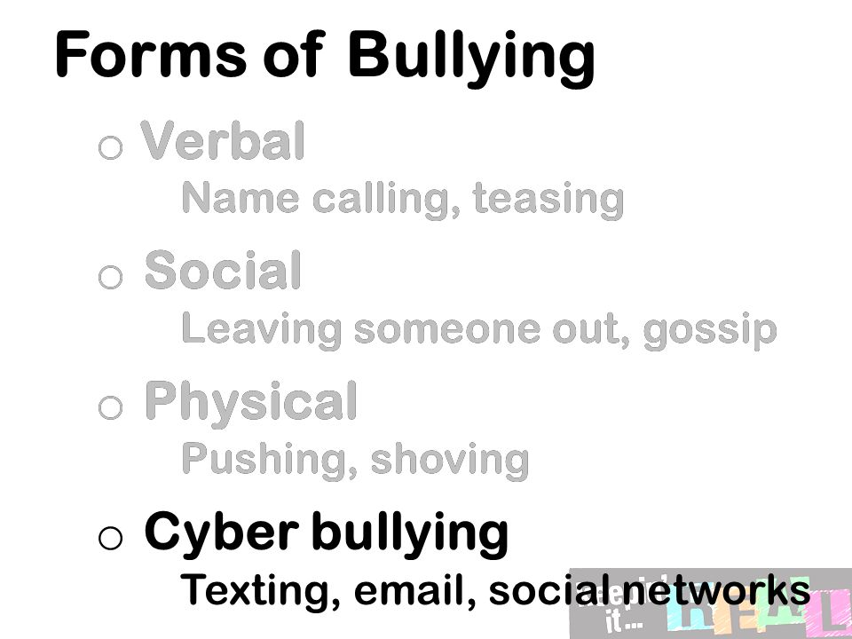 Public or private.Most bullying almost always occurs in front of other people.