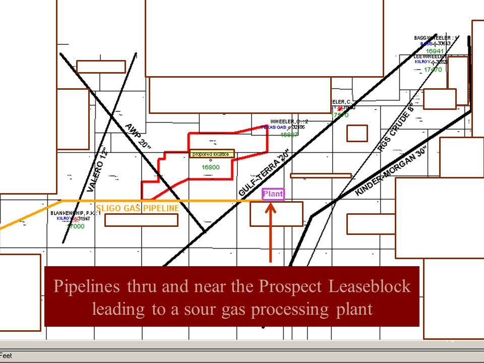 16 Pipelines thru and near the Prospect Leaseblock leading to a sour gas processing plant Pipeline Map