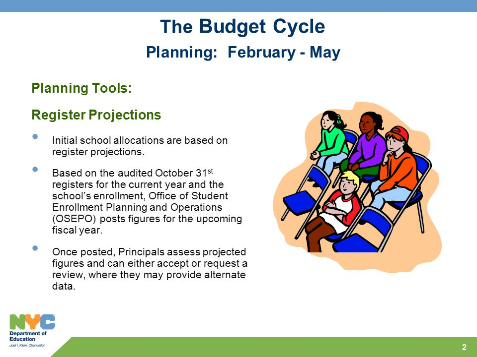 2 The Budget Cycle Planning Tools: Register Projections Initial school allocations are based on register projections.