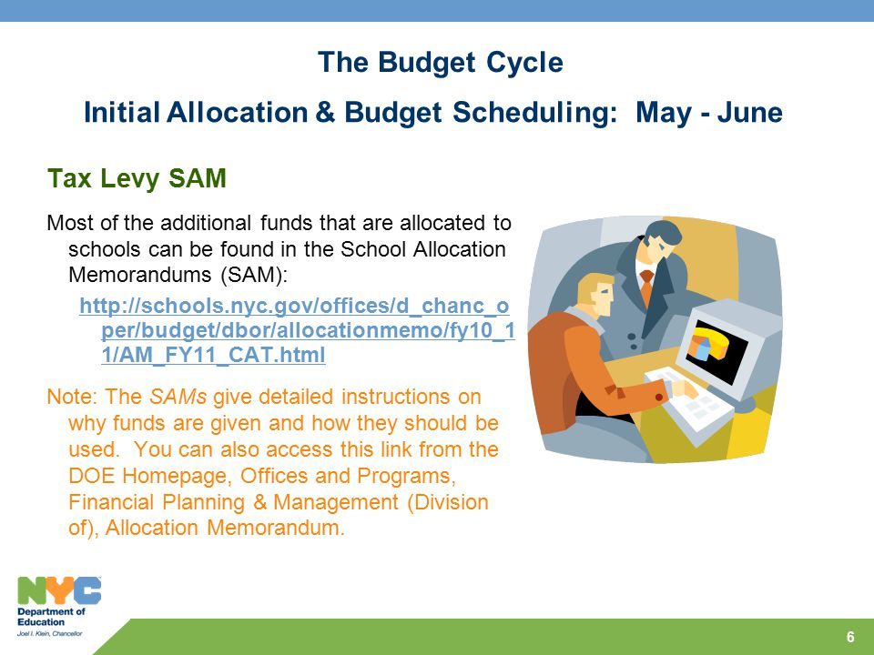 6 Tax Levy SAM Most of the additional funds that are allocated to schools can be found in the School Allocation Memorandums (SAM): http://schools.nyc.gov/offices/d_chanc_o per/budget/dbor/allocationmemo/fy10_1 1/AM_FY11_CAT.html Note: The SAMs give detailed instructions on why funds are given and how they should be used.