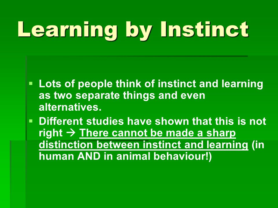 Learning by Instinct   Lots of people think of instinct and learning as two separate things and even alternatives.