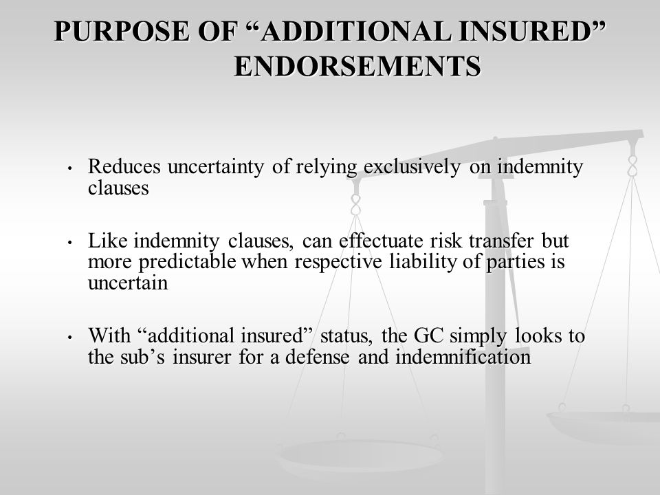 THE IMPRACTICALITIES OF PROPORTIONATE INDEMNITY THE APPLICATION OF PROPORTIONATE INDEMNITY REQUIRES SOME DETERMINATION OF FAULT THE APPLICATION OF PROPORTIONATE INDEMNITY REQUIRES SOME DETERMINATION OF FAULT USUALLY REQUIRES A TRIAL OR ARBITRATION TO APPORTION THE NEGLIGENCE AS BETWEEN THE GC AND THE SUBS.