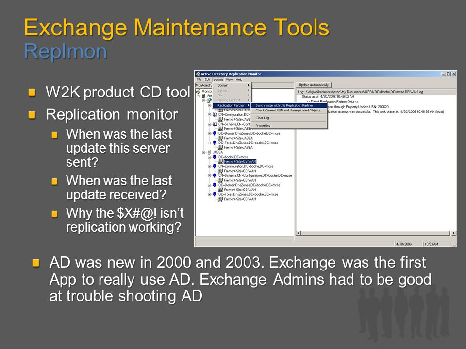 Exchange Maintenance Tools Replmon W2K product CD tool Replication monitor When was the last update this server sent.