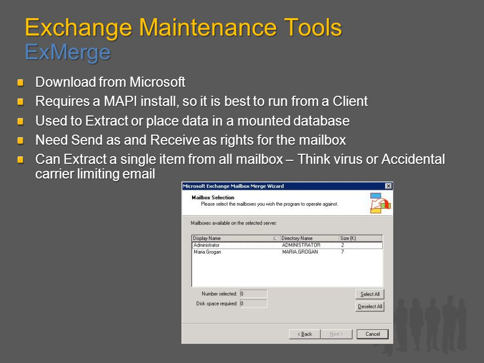 Exchange Maintenance Tools ExMerge Download from Microsoft Requires a MAPI install, so it is best to run from a Client Used to Extract or place data in a mounted database Need Send as and Receive as rights for the mailbox Can Extract a single item from all mailbox – Think virus or Accidental carrier limiting email