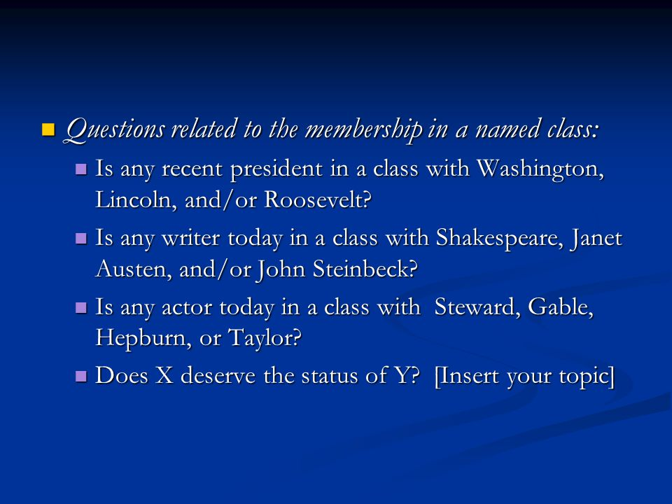 Questions related to the membership in a named class: Questions related to the membership in a named class: Is any recent president in a class with Washington, Lincoln, and/or Roosevelt.