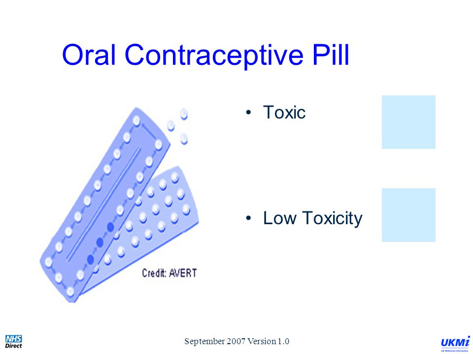 September 2007 Version 1.0 Oral Contraceptive Pill Toxic Low Toxicity