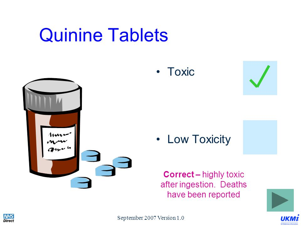 September 2007 Version 1.0 Quinine Tablets Toxic Low Toxicity Correct – highly toxic after ingestion.