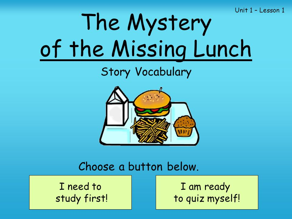 The Mystery of the Missing Lunch Story Vocabulary I need to study first.