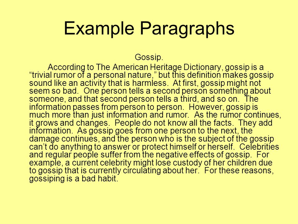 Example Paragraphs Gossip.
