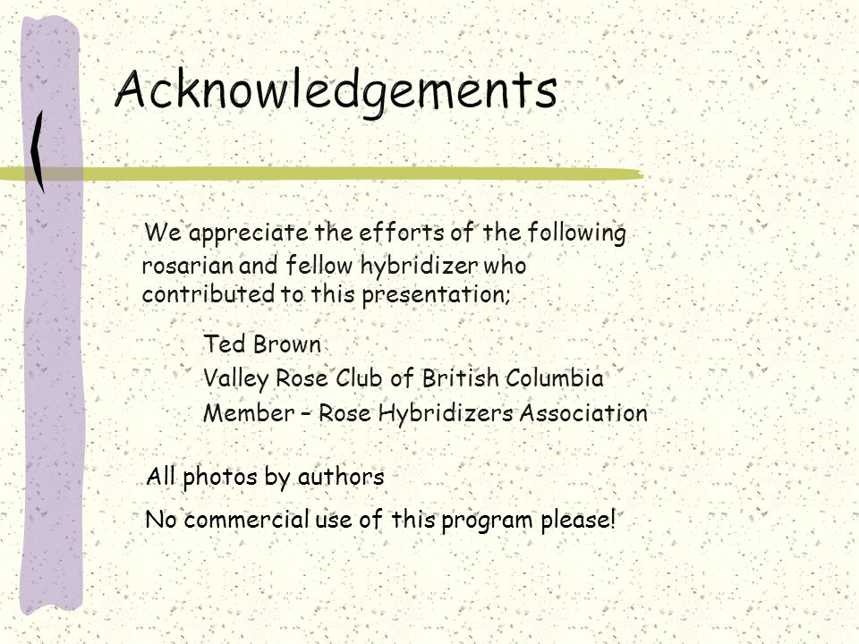 We appreciate the efforts of the following rosarian and fellow hybridizer who contributed to this presentation; Ted Brown Valley Rose Club of British Columbia Member – Rose Hybridizers Association No commercial use of this program please.