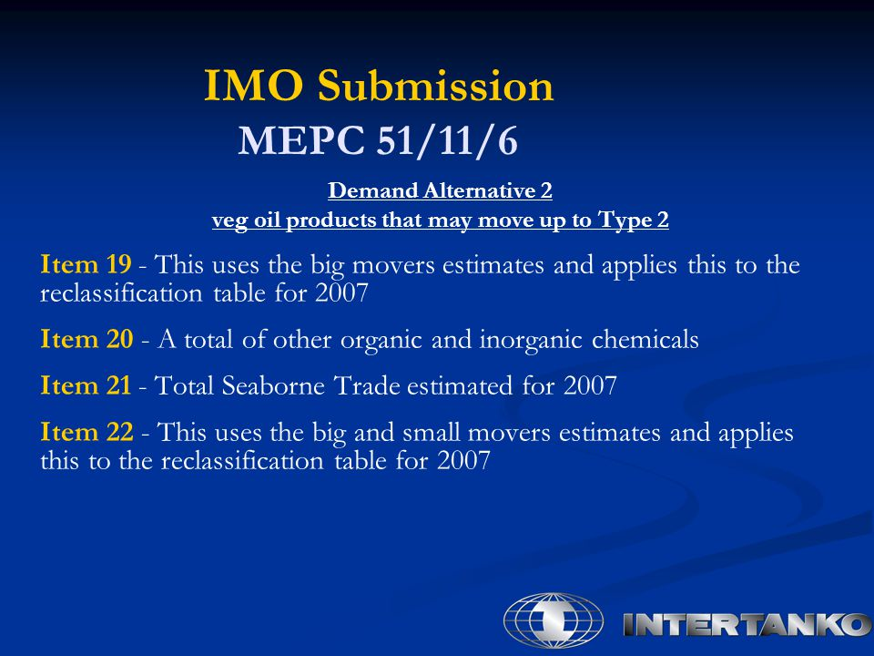 IMO Submission MEPC 51/11/6 Demand Alternative 2 veg oil products that may move up to Type 2 Item 19 - This uses the big movers estimates and applies