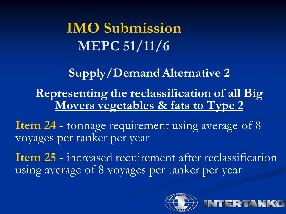 IMO Submission MEPC 51/11/6 Supply/Demand Alternative 2 Representing the reclassification of all Big Movers vegetables & fats to Type 2 Item 24 - tonnage requirement using average of 8 voyages per tanker per year Item 25 - increased requirement after reclassification using average of 8 voyages per tanker per year