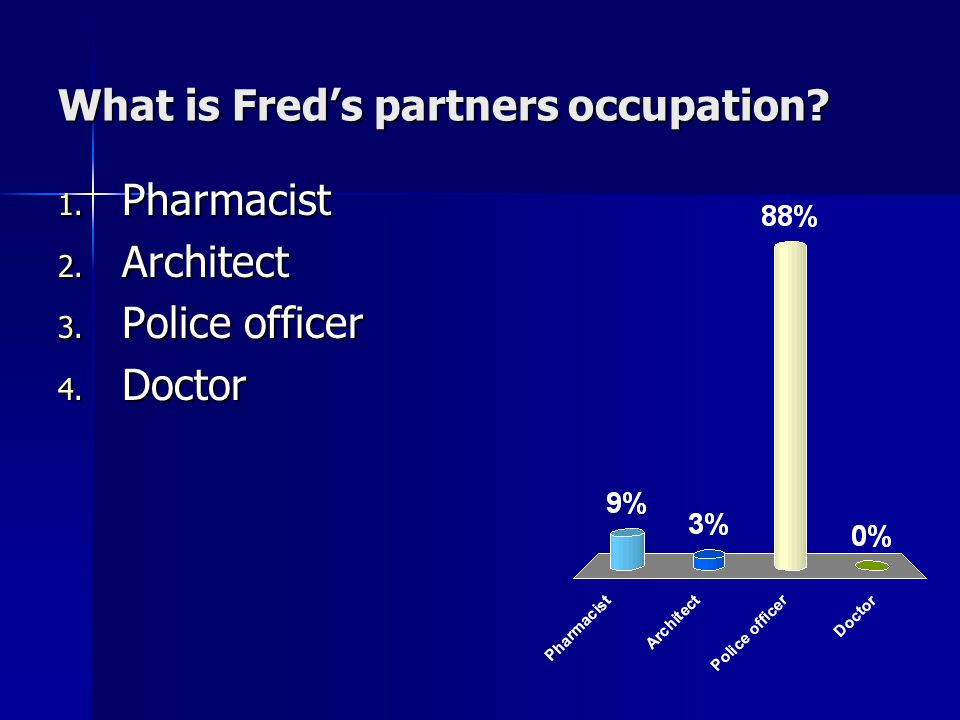 What is Fred's partners occupation 1. Pharmacist 2. Architect 3. Police officer 4. Doctor