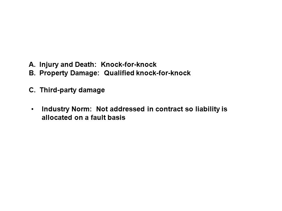 A.Injury and Death: Knock-for-knock B.Property Damage: Qualified knock-for-knock C.Third-party damage Industry Norm: Not addressed in contract so liab
