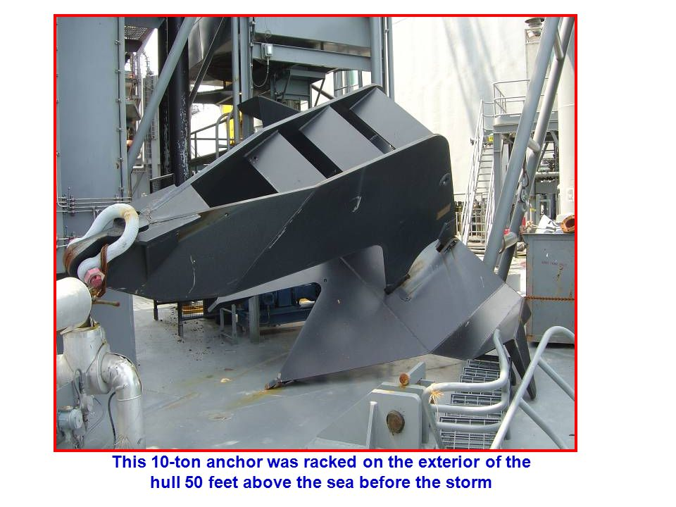 This 10-ton anchor was racked on the exterior of the hull 50 feet above the sea before the storm