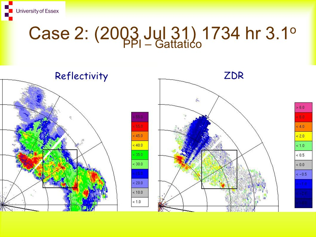 Case 2: (2003 Jul 31) 1734 hr 3.1 o PPI – Gattatico ZDR Reflectivity
