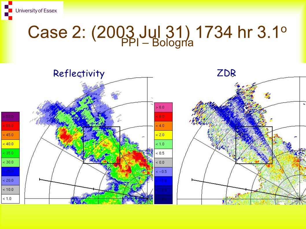 Case 2: (2003 Jul 31) 1734 hr 3.1 o PPI – Bologna ZDR Reflectivity