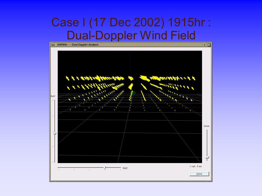 Case I (17 Dec 2002) 1915hr : Dual-Doppler Wind Field