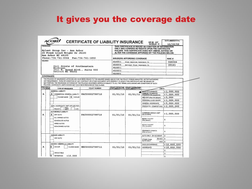 It gives you the coverage date