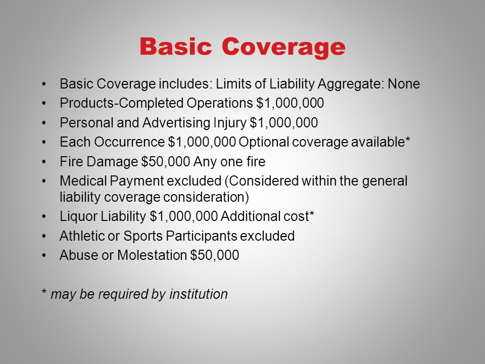 Basic Coverage Basic Coverage includes: Limits of Liability Aggregate: None Products-Completed Operations $1,000,000 Personal and Advertising Injury $