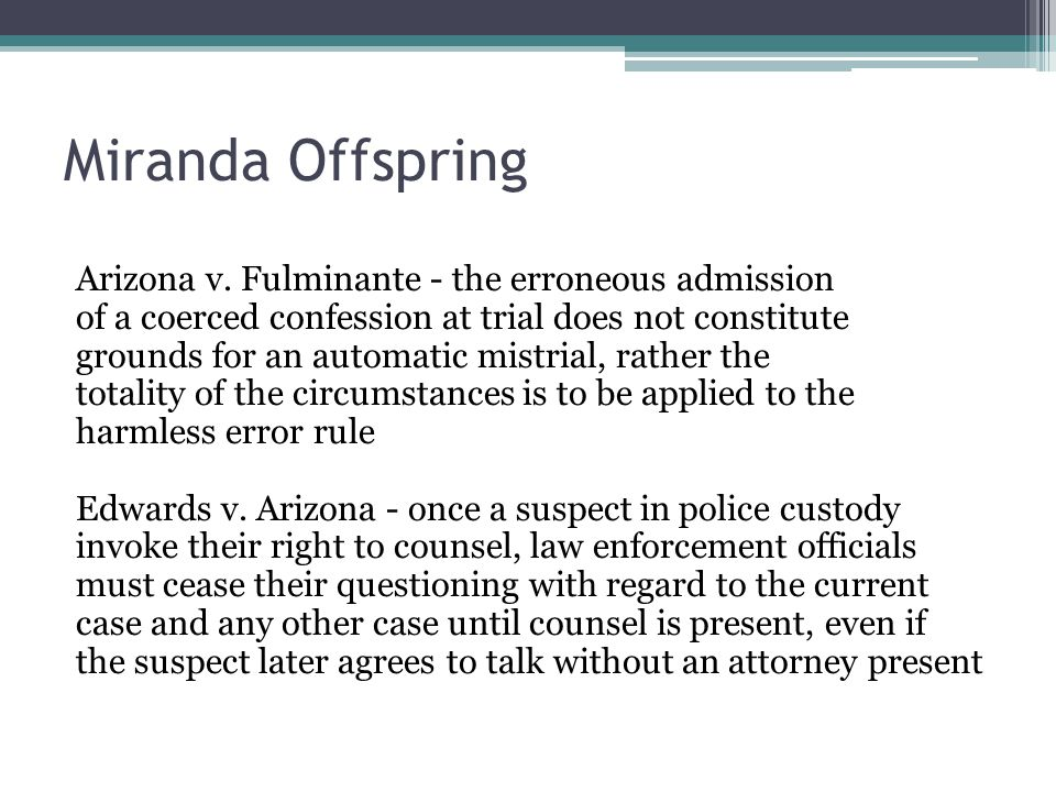 Miranda Offspring Arizona v.