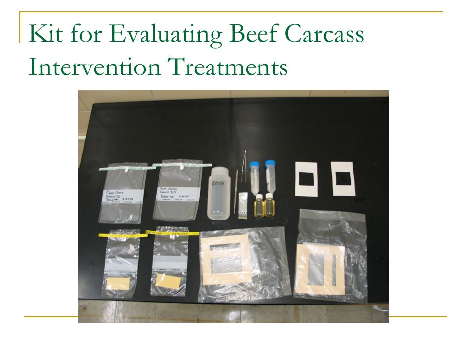 Kit for Evaluating Beef Carcass Intervention Treatments