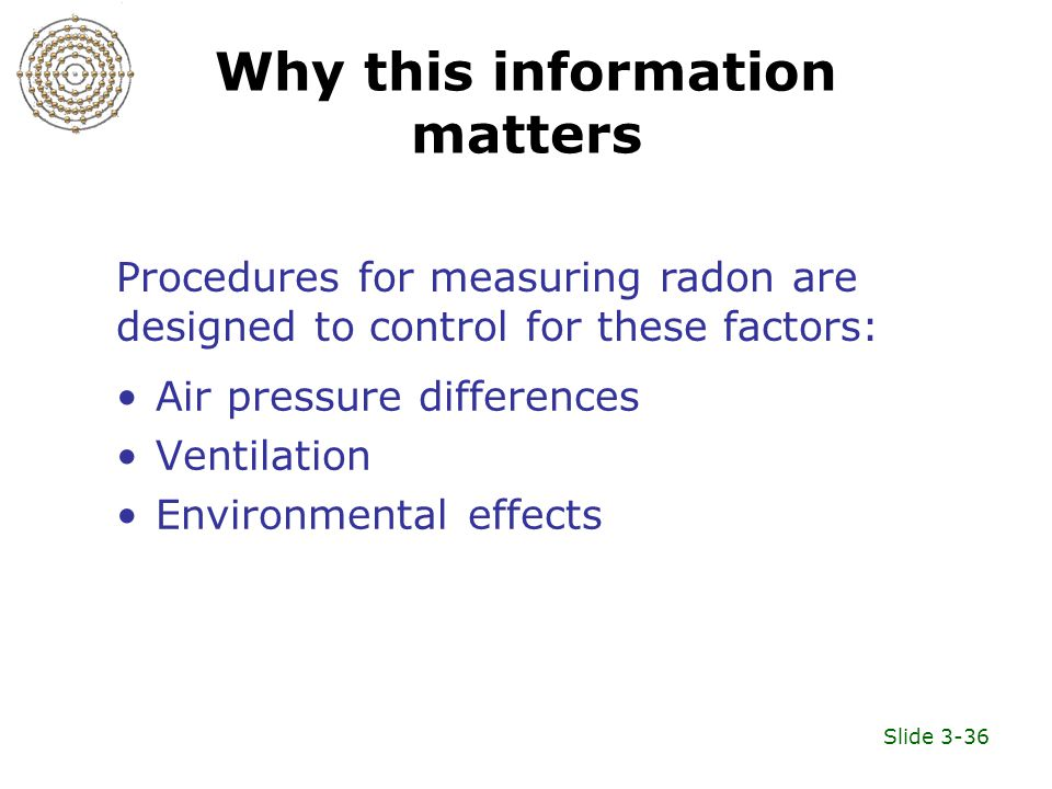 Slide 3-36 Why this information matters Air pressure differences Ventilation Environmental effects Procedures for measuring radon are designed to control for these factors: