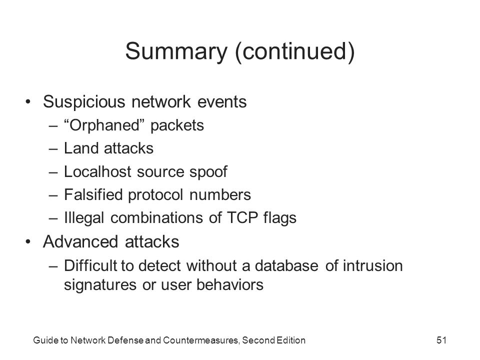 """Guide to Network Defense and Countermeasures, Second Edition51 Summary (continued) Suspicious network events –""""Orphaned"""" packets –Land attacks –Localh"""
