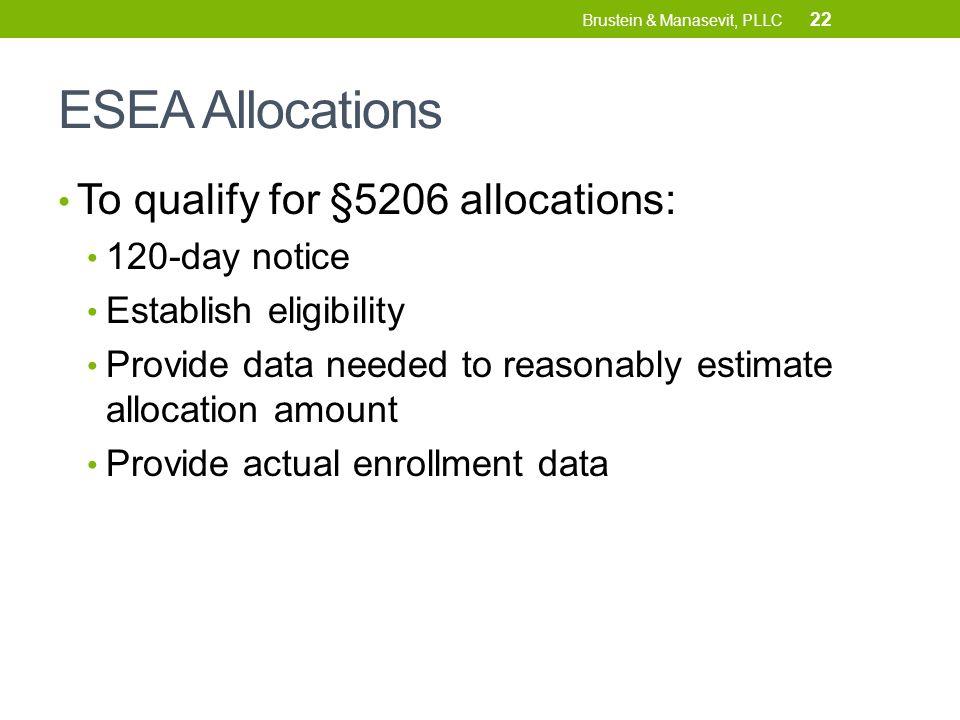 ESEA Allocations To qualify for §5206 allocations: 120-day notice Establish eligibility Provide data needed to reasonably estimate allocation amount Provide actual enrollment data 22 Brustein & Manasevit, PLLC