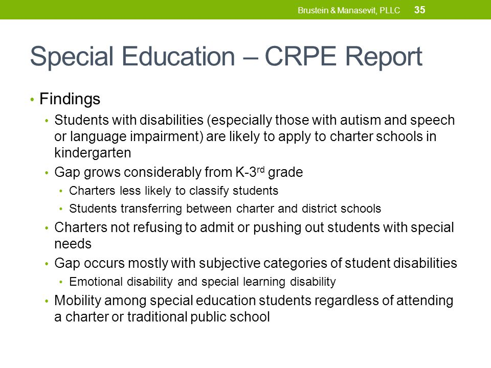 Special Education – CRPE Report Findings Students with disabilities (especially those with autism and speech or language impairment) are likely to apply to charter schools in kindergarten Gap grows considerably from K-3 rd grade Charters less likely to classify students Students transferring between charter and district schools Charters not refusing to admit or pushing out students with special needs Gap occurs mostly with subjective categories of student disabilities Emotional disability and special learning disability Mobility among special education students regardless of attending a charter or traditional public school 35 Brustein & Manasevit, PLLC