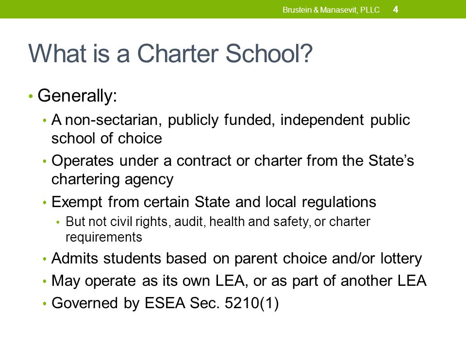 Sharing District Facilities Some States have right of first refusal policy (like DC) Charters can request any vacant or underused public buildings, allowed to occupy unless district has a valid reason to say no Small charters sometimes share space with traditional public schools ( co-location ) E.g.