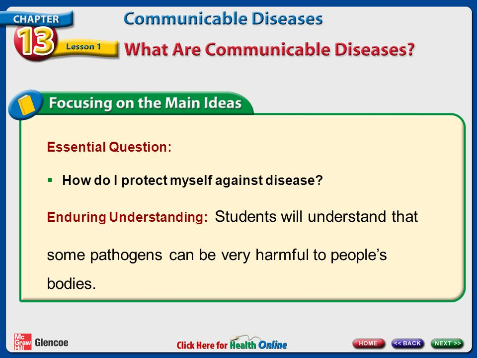 Essential Question:  How do I protect myself against disease? Enduring Understanding: Students will understand that some pathogens can be very harmfu