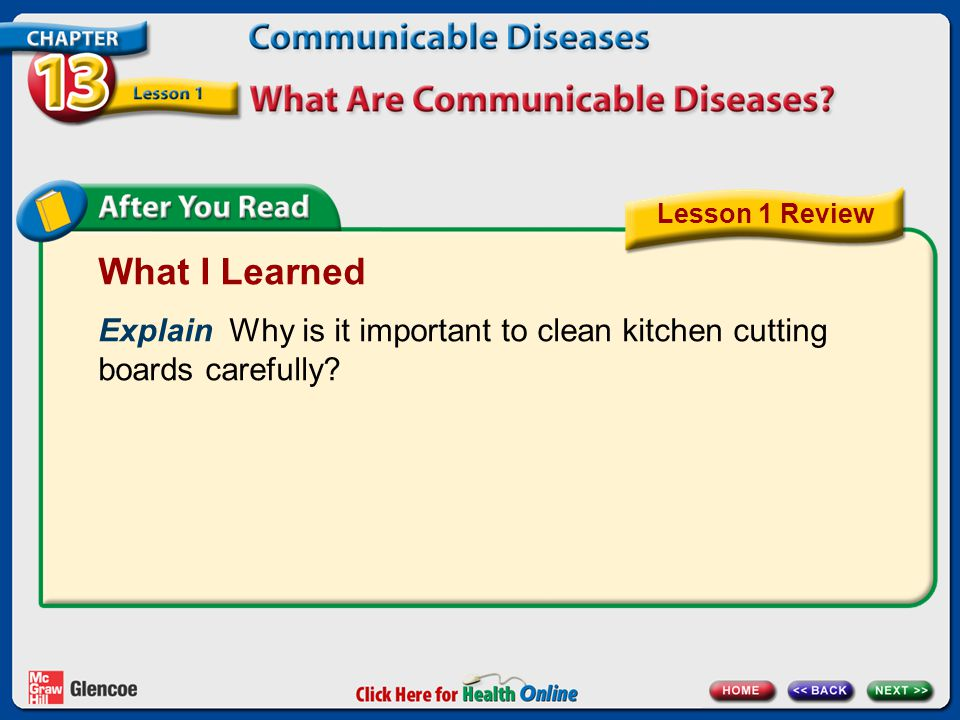 What I Learned Explain Why is it important to clean kitchen cutting boards carefully? Lesson 1 Review