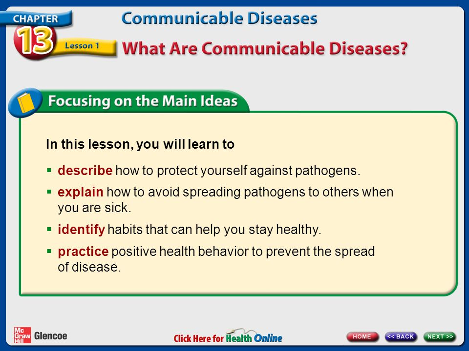 In this lesson, you will learn to  describe how to protect yourself against pathogens.  explain how to avoid spreading pathogens to others when you