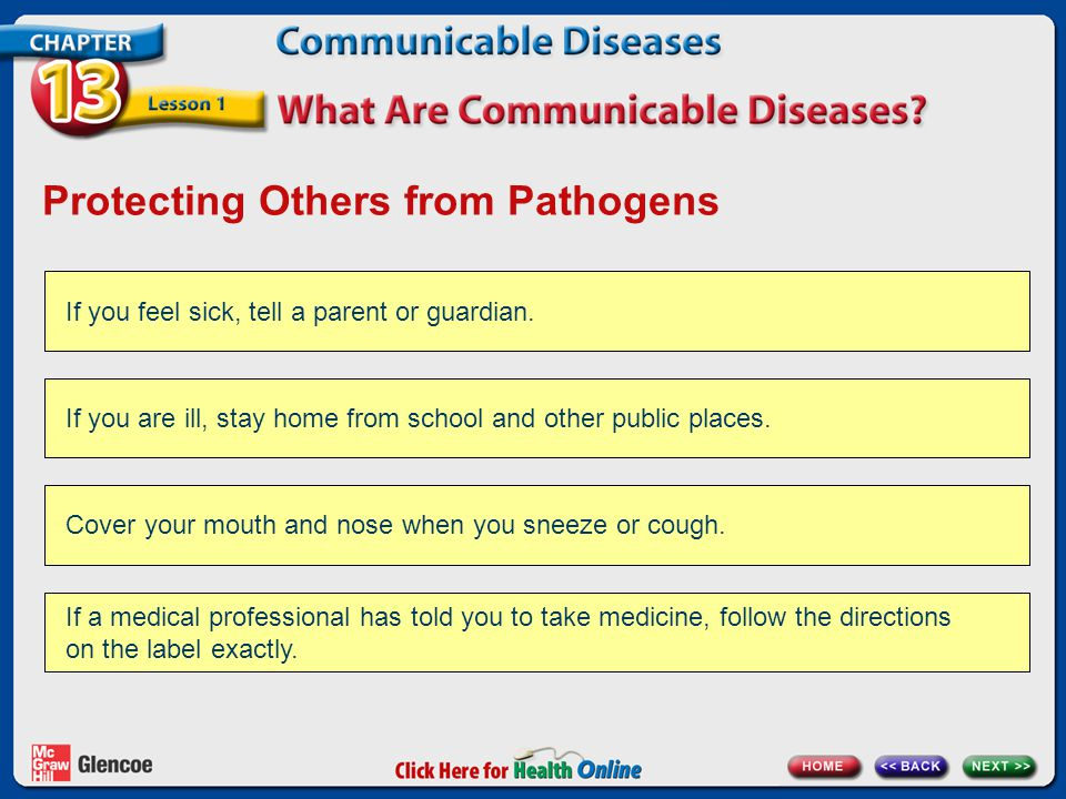 Protecting Others from Pathogens If you feel sick, tell a parent or guardian. If you are ill, stay home from school and other public places. Cover you