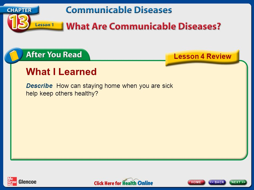 What I Learned Describe How can staying home when you are sick help keep others healthy? Lesson 4 Review
