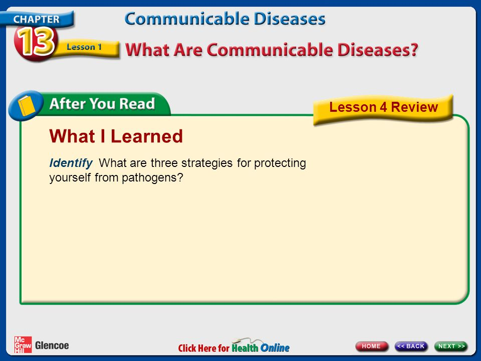 What I Learned Identify What are three strategies for protecting yourself from pathogens? Lesson 4 Review