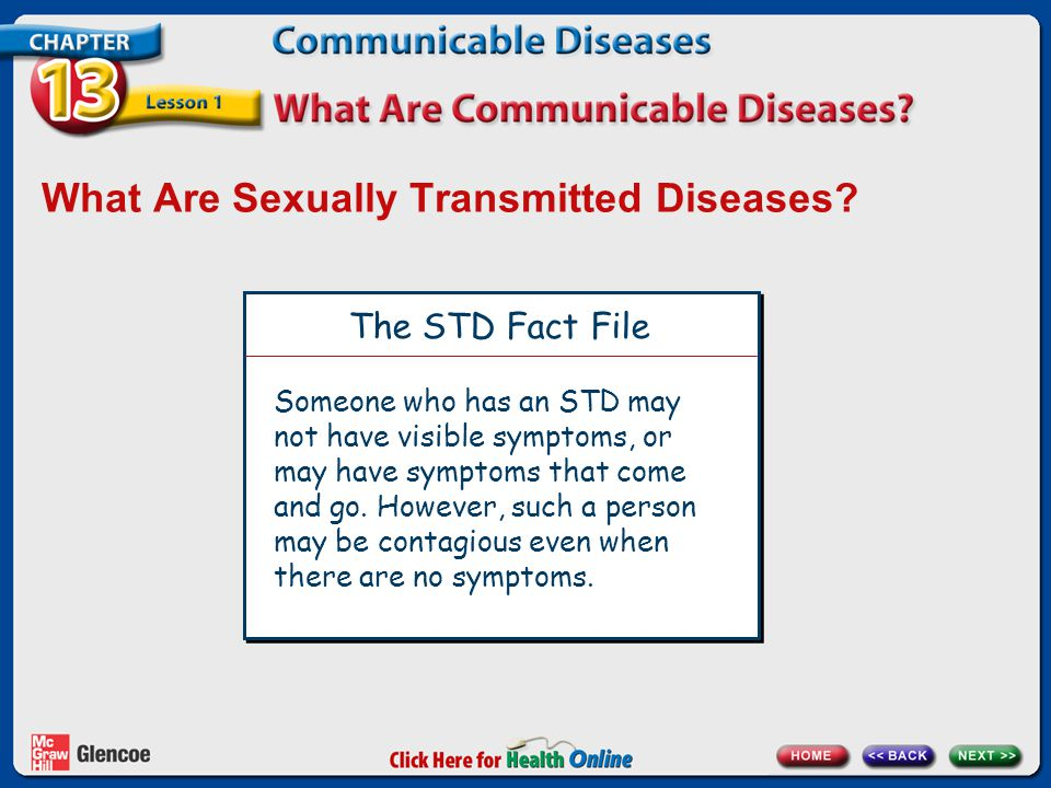 What Are Sexually Transmitted Diseases? The STD Fact File Someone who has an STD may not have visible symptoms, or may have symptoms that come and go.
