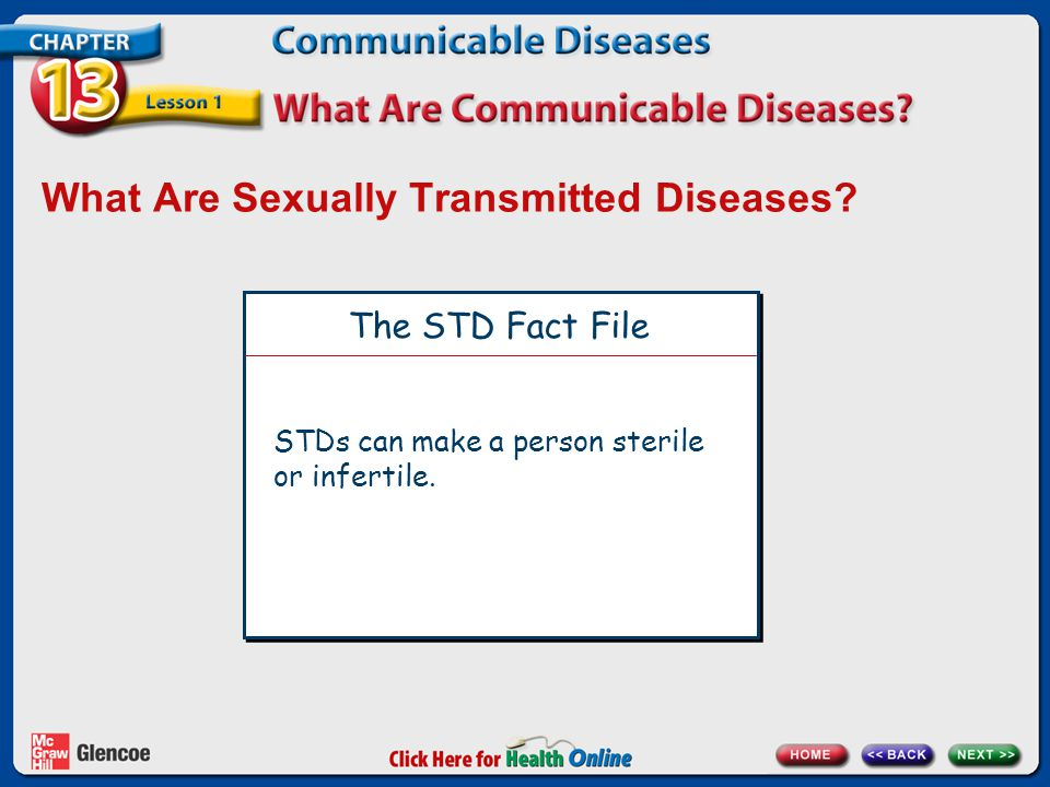 What Are Sexually Transmitted Diseases? The STD Fact File STDs can make a person sterile or infertile.