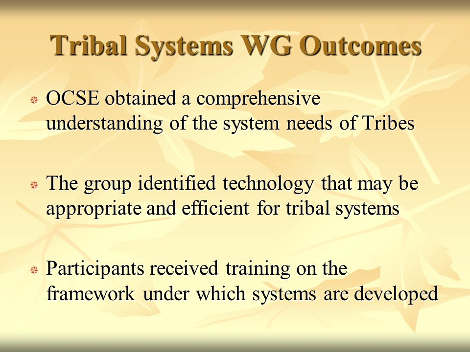 Tribal Systems WG Outcomes  OCSE obtained a comprehensive understanding of the system needs of Tribes  The group identified technology that may be appropriate and efficient for tribal systems  Participants received training on the framework under which systems are developed