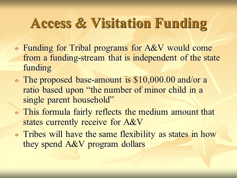 Access & Visitation Funding  Funding for Tribal programs for A&V would come from a funding-stream that is independent of the state funding  The proposed base-amount is $10,000.00 and/or a ratio based upon the number of minor child in a single parent household  This formula fairly reflects the medium amount that states currently receive for A&V  Tribes will have the same flexibility as states in how they spend A&V program dollars