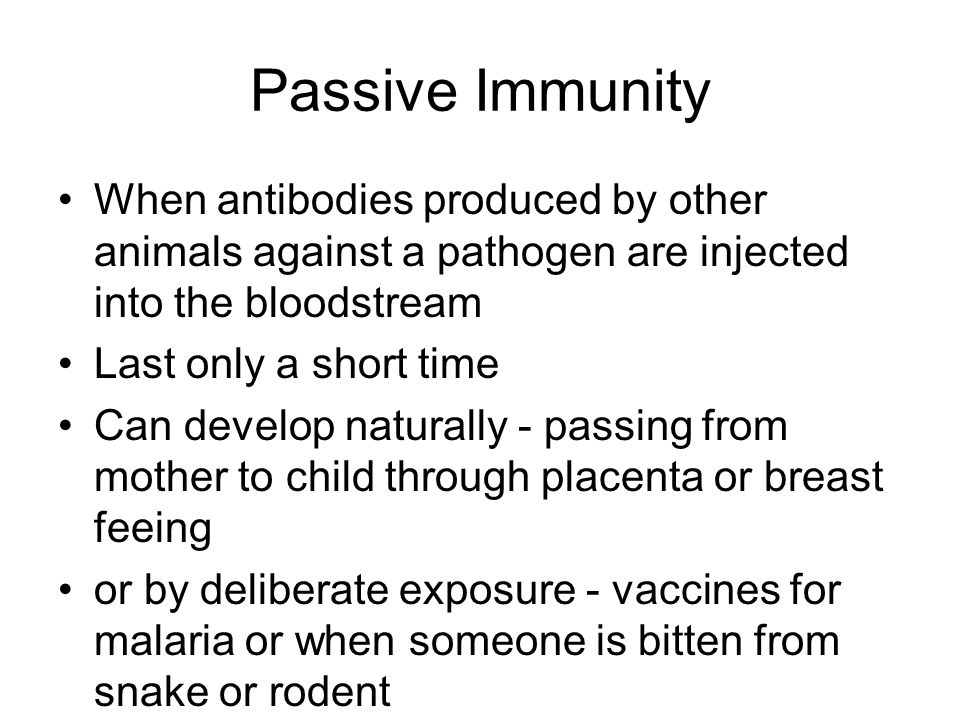 Passive Immunity When antibodies produced by other animals against a pathogen are injected into the bloodstream Last only a short time Can develop nat