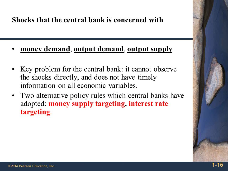 1-15 © 2014 Pearson Education, Inc. Shocks that the central bank is concerned with money demand, output demand, output supply Key problem for the cent