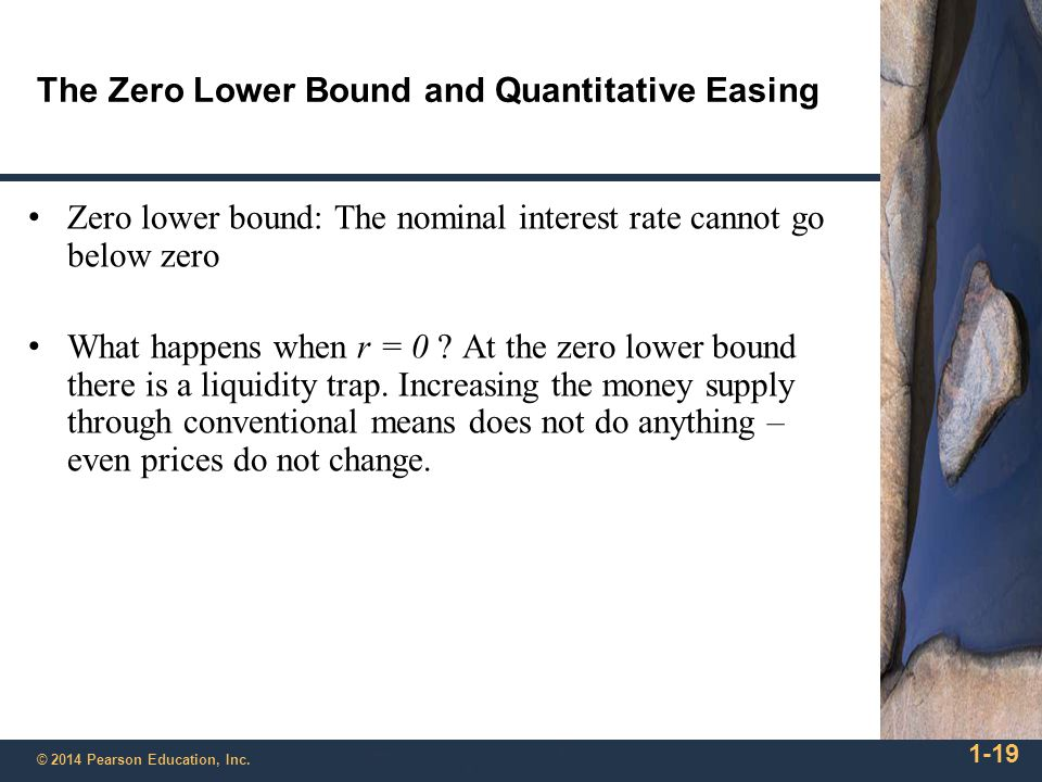 1-19 © 2014 Pearson Education, Inc. The Zero Lower Bound and Quantitative Easing Zero lower bound: The nominal interest rate cannot go below zero What