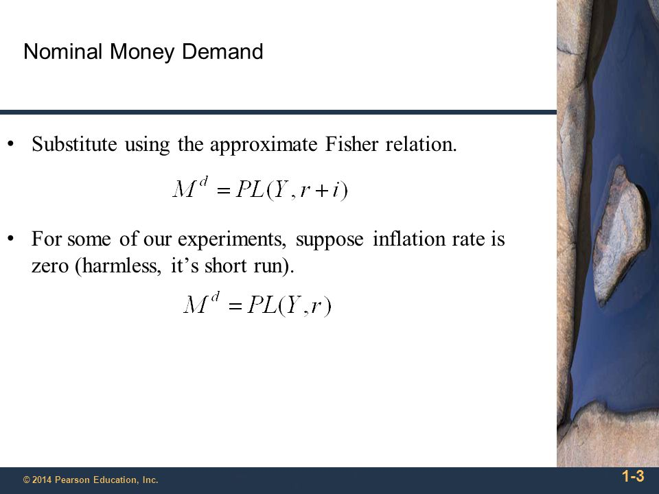 1-3 © 2014 Pearson Education, Inc. Nominal Money Demand Substitute using the approximate Fisher relation. For some of our experiments, suppose inflati